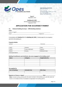thumbnail of Form 5 Occupancy Permit Application Form